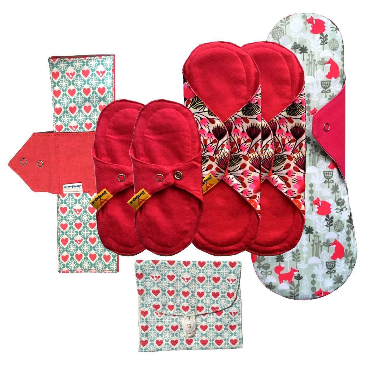 2 panty liners (small) + 2 classic (regular) + 1 foldable (regular) + 1 Heavy (large) + 1 pouch to carry back soiled pad